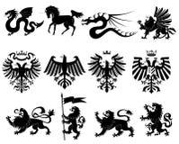 heraldisk set för 2 djur Royaltyfria Bilder