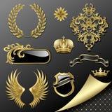 heraldisk set för element royaltyfri illustrationer