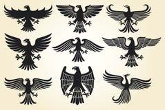 heraldisk set för örn Arkivfoton