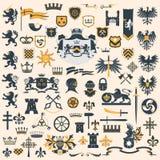 heraldisk set för designelement Arkivfoto