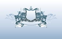 heraldisk sköld för baner Arkivbilder
