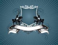heraldisk sköld för baner Arkivfoto