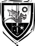 Heraldisk skölddrake och svärd Arkivfoto
