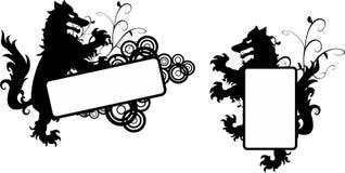 Heraldisk svart vargtatueringcopyspace set9 Royaltyfria Bilder