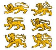 Heraldisk symbolsuppsättning för lejon för tatueringen, heraldikdesign Arkivfoton