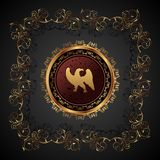 heraldisk tappning för örnguld Royaltyfri Fotografi
