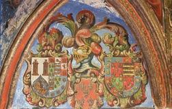 Heraldisk vapensköld i domkyrkan av Salamanca Royaltyfri Bild