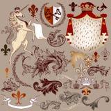 Heraldisk vektoruppsättning av detaljerade tappningbeståndsdelar Arkivbilder