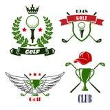 Heraldiska emblem för golfklubb eller för turnering stock illustrationer