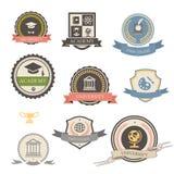 Heraldiska emblem för universitet, för högskola och för akademi Fotografering för Bildbyråer