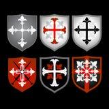 heraldiska medeltida sköldar Royaltyfri Foto