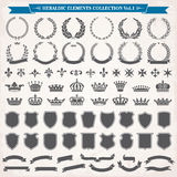 1 heraldiska set för element vektor illustrationer