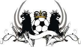 Heraldiska svarta lejonkronor tatuerar fotbollfutbolvapenskölden Royaltyfri Fotografi