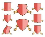 Heraldiska vapensköldar för vapensköld med band ställde in, sköldmallar, vektor Stock Illustrationer