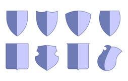 Heraldiska vapensköldar för vapenskölduppsättning, sköldmallar, isolerade vektorn Vektor Illustrationer