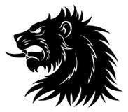 Heraldiskt enkelt lejonhuvud royaltyfri illustrationer