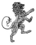 Heraldiskt lejon för träklossstil stock illustrationer