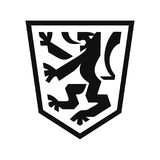 Heraldiskt lejon på skölden royaltyfri illustrationer