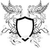 Heraldiskt pegasus vapensköldvapen shield2 Arkivfoton