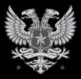 Dubbelt hövdat heraldiskt örnvapen stock illustrationer