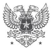 Dubbelt hövdat heraldiskt örnvapen på vit Royaltyfria Bilder