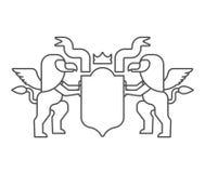 Heraldiskt symbol för grip och för sköld Teckendjur för vapensköld vektor illustrationer