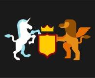 Heraldiskt symbol för grip och Unicorn Shield Teckendjur för lag stock illustrationer