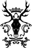 Heraldiskt symbol med hjortskallen royaltyfri illustrationer