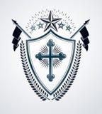 Heraldiskt tecken, beståndsdel, heraldikemblem, gradbeteckning, tecken, vektor Royaltyfri Fotografi
