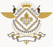 Heraldiskt tecken, beståndsdel, heraldikemblem, gradbeteckning, tecken, vektor Arkivfoto