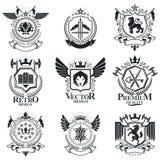 Heraldiskt tecken, beståndsdelar, heraldikemblem, gradbeteckningar, tecken stock illustrationer