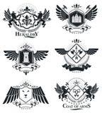 Heraldiskt tecken, beståndsdelar, heraldikemblem, gradbeteckningar, tecken, ve vektor illustrationer