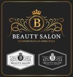 Heraldiskt vapen Logo Template för skönhetsalong Royaltyfri Foto
