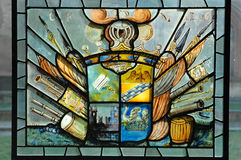 Heraldry. Historical stained glass window with heraldry symbol Stock Photography