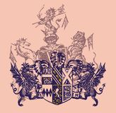 Heraldry arming. Consisting of a pink dragon emblem on the floor at the lion graphic vector illustration