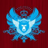 Heraldry with bear head. Vector heraldry with winged bear head Royalty Free Stock Image