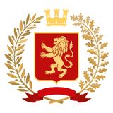 Heraldry, coat of arms. Olive branch, oak branch, crown, shield, lion. Color. Heraldic image. On the red coat of arms is a gold stylized lion. On top of the Royalty Free Stock Photography