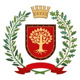 Heraldry, coat of arms. Olive branch, oak branch, crown, shield, tree. Color. Heraldic image. On the red shield there is a stylized golden tree. On top of the Stock Images