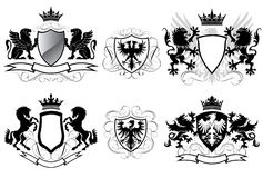 Heraldry coat of arms. Set of heraldry shield design, black colored Royalty Free Stock Photography