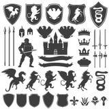 Heraldry Decorative Graphic Icons Set Stock Image