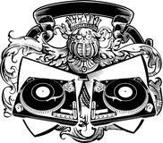 Heraldry DJ Sign With Turntables. Royalty Free Stock Image