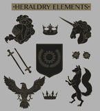 Heraldry elements isolated on grey backdrop Stock Image