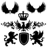Heraldry elements silhouettes Stock Photography