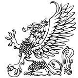 Heraldry griffin. Hand drawing griffin,black colored Royalty Free Stock Photography