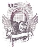 Heraldry with headphones. Vector heraldry with hand drawn headphones Royalty Free Stock Images