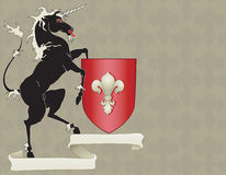 Heraldry Horse with Crest Stock Photo