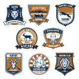 Heraldry icons of wild safari animals. Hunting sport club heraldic icons. Jumping panther and head on shield, rhino and rhinoceros with ribbon, capra or mountain Stock Photography