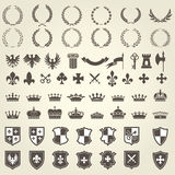 Heraldry kit of knight blazons and coat of arms elements Stock Image
