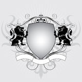 Heraldry lion shield. Heraldry design shield with lions and eagle Stock Images