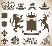 Heraldry Ornaments. Vector Heraldry Ornaments  on a Gradient Background Stock Photo